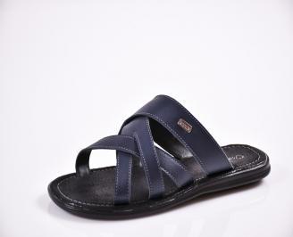 Мъжки чехли естествена кожа сини XZFH-27838