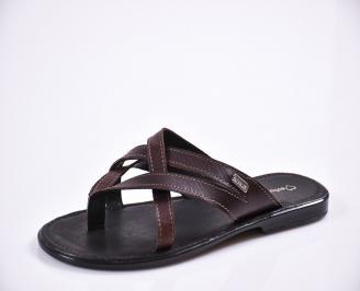 Мъжки чехли естествена кожа кафяви AOQA-27839