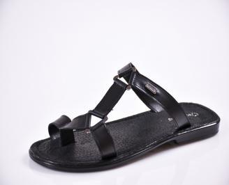 Мъжки чехли естествена кожа черни DRDC-27841