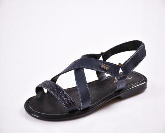Мъжки чехли естествена кожа сини NDQR-27842