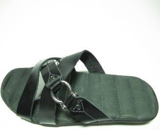 Мъжки чехли естествена кожа черни ZRME-13614