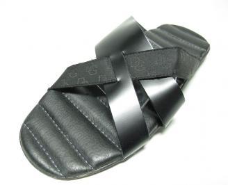 Мъжки чехли естествена кожа черни IDSZ-13615