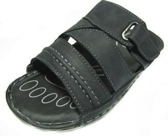 Мъжки чехли естествена кожа черни TEMH-13864