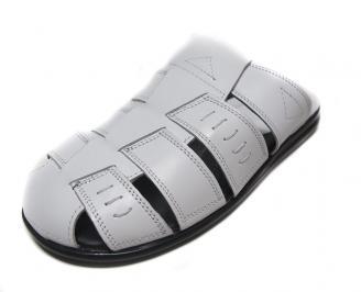 Мъжки чехли естествена кожа бели LTEM-14404