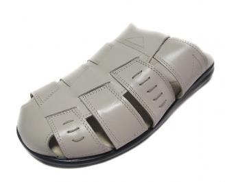 Мъжки чехли естествена кожа бежови VVUG-14406