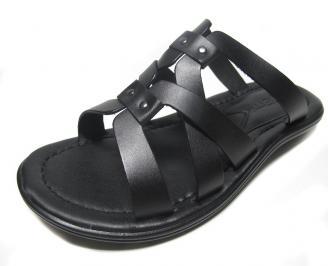 Мъжки чехли естествена кожа черни UPLM-14539