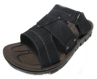 Мъжки чехли естествена кожа черни RSXM-14554