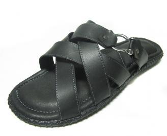 Мъжки чехли естествена кожа черни YXQY-14574