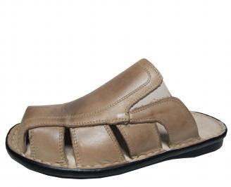 Мъжки чехли естествена кожа бежови GBRS-16822