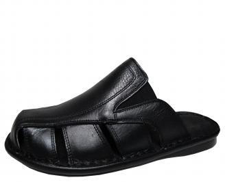 Мъжки чехли естествена кожа черни PYBB-16843