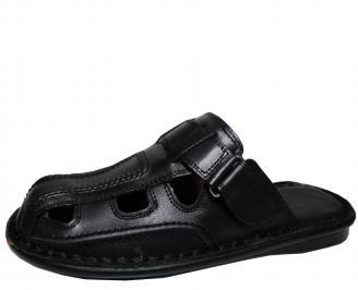 Мъжки чехли естествена кожа черни SGSA-16905