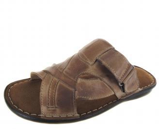 Мъжки чехли естествена кожа бежови UWCC-19213