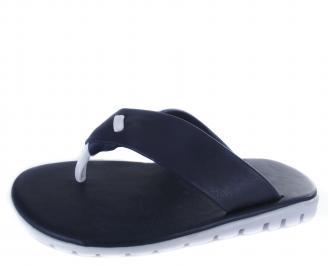 Мъжки чехли естествена  кожа тъмно сини BQPW-19716