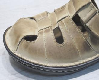 Мъжки чехли -Гигант естествена кожа бежови UACE-23841