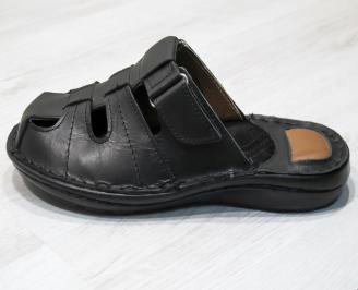Мъжки чехли -Гигант естествена кожа черни ZAVN-24144