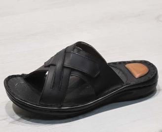 Мъжки чехли -Гигант естествена кожа черни NYEV-24559