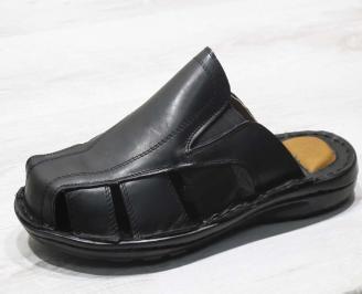 Мъжки чехли -Гигант естествена кожа черни XVEA-24560