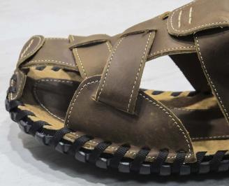 Мъжки чехли кафяви естествена кожа REAH-24662