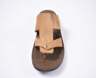 Мъжки чехли набук бежови IOBF-1012495