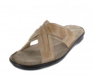 Мъжки чехли от естествена кожа бежови QXCW-16994