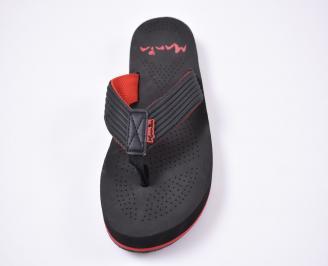 Мъжки джапанки еко кожа черно/червено IUVK-1012516