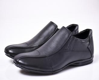 Мъжки елегантни обувки естествена кожа черни  NVBB-1015873