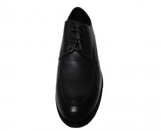 Мъжки  елегантни обувки -Гигант естествена кожа черни DQHR-22156