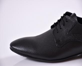 Мъжки елегантни обувки естествена кожа черни BEQE-23396