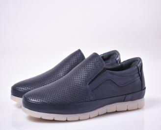 Мъжки ежедневки обувки естествена кожа сини PKFY-1013849