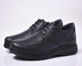 Мъжки ежедневки обувки естествена кожа черни. TGOH-1013855