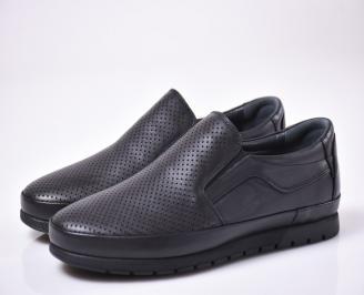 Мъжки ежедневки обувки естествена кожа черни RUJA-1013859