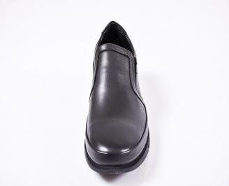 Мъжки ежедневни  обувки естествена кожа черни CXQF-1010799