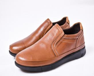 Мъжки ежедневни обувки естествена кожа кафяви DDOU-1010804