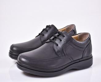 Мъжки ежедневни обувки естествена кожа черни KTGR-1011083