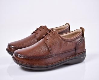 Мъжки ежедневни обувки естествена кожа кафяви AQEE-1011089