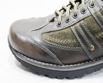Мъжки ежедневни обувки естествена кожа кафяви EQJM-22680