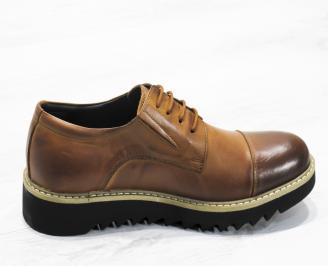 Мъжки ежедневни обувки естествена кожа кафяви GFQF-22696