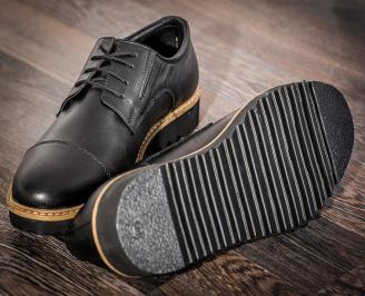 Мъжки ежедневни обувки естествена кожа черни OSCG-22736