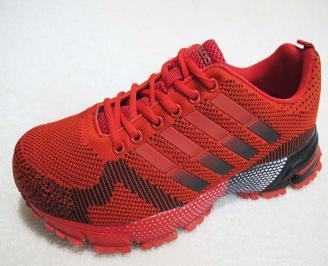Мъжки маратонки BULLDOZER  текстил червени BEVF-23199