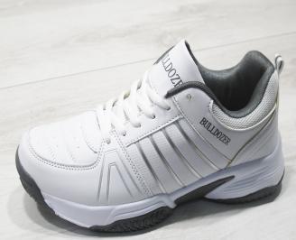Мъжки маратонки Bulldozer еко кожа бели GJIK-23762