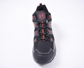 Мъжки маратонки еко кожа /текстил черни ABPQ-1012693