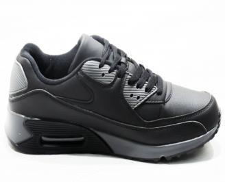Мъжки  маратонки   еко кожа черно/сиво WPNK-25355