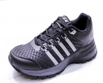Мъжки маратонки  еко кожа/текстил черни ADTH-26655