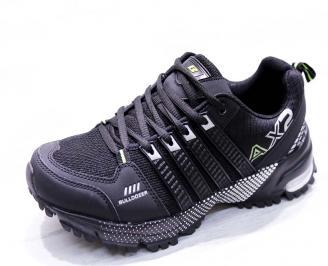 Мъжки маратонки  еко кожа/текстил черни