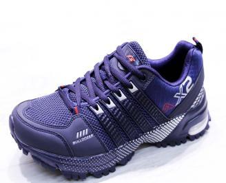 Мъжки маратонки  еко кожа/текстил сини THPP-26663
