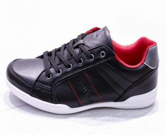 Мъжки маратонки  еко кожа черни IUBU-26684