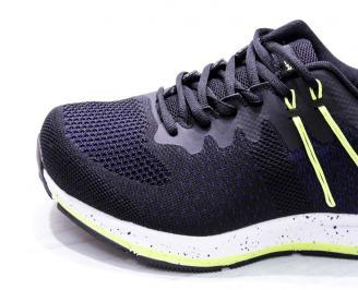 Мъжки маратонки  текстил черно/зелено YLWD-26667