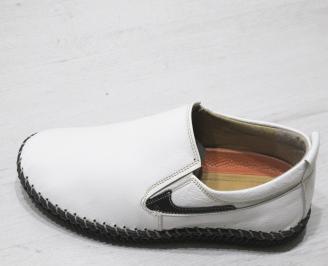 Мъжки обувки бели естествена кожа PNPQ-23502