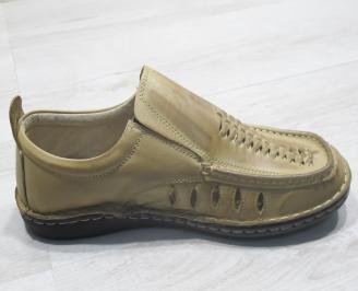 Мъжки обувки бежови естествена кожа VREU-23840