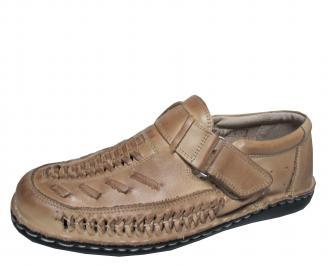 Мъжки обувки бежови естествена кожа BDRL-18989